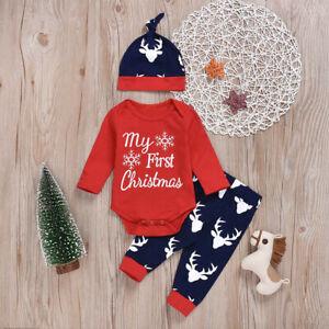 My 1st Christmas Baby Boy Girl Newborn Xmas Clothes Romper ...