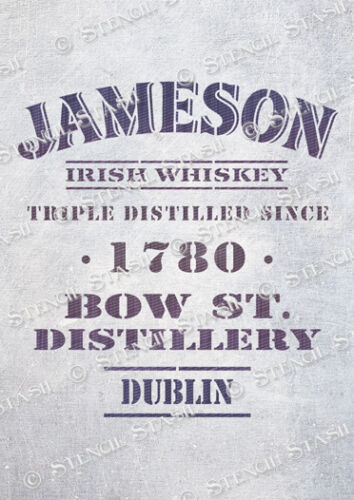 Irish Whiskey STENCIL 5 sizes JTD Vintage Crate Box Furniture SUPERIOR 250 MYLAR