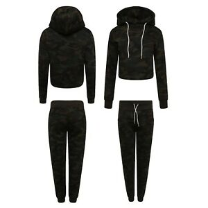 Tracksuits Clothing, Shoes & Accessories Womens Ladies Plain Cropped Hooded Tracksuit Set Top Bottom Trouser Hoodies Xs-l