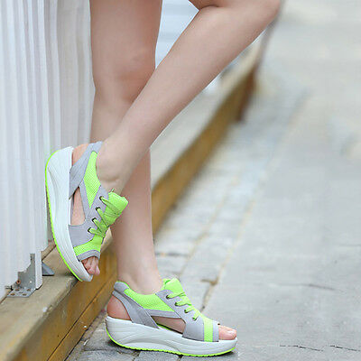 Women Summer Lace Up Running Sneakers Trainers Wedge Open Toe Sport Sandals