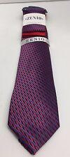 Zenio Slim Tie & Two Hankies Set Red Royal Blue & Navy for Men 100% Microfiber
