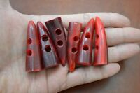 6 Pcs Red Horn Toggle Sewing 2 Hole Buttons Craft 2 T-256