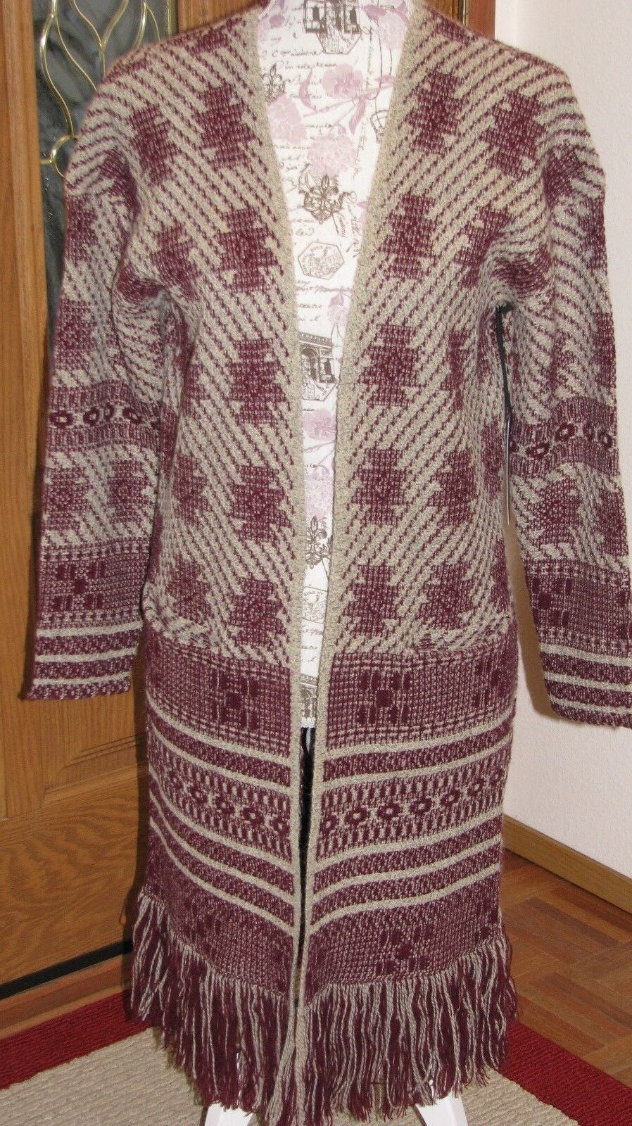 MaxSport Women's Medium Long Open Cardigan Cardigan Cardigan Oatmeal Burgandy Duster Sweater 0f1240