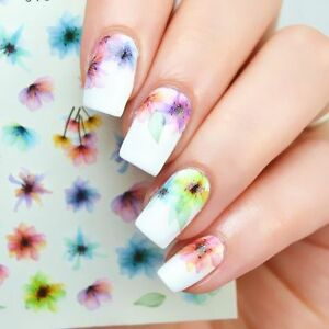 Nail-Art-Water-Decals-Stickers-Transfers-Spring-Water-Effect-Flowers-tulips-E366