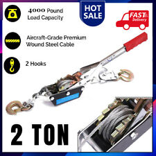 2 Ton Gear Hand Cable Puller Car Trailer Tow Hooks 4000 Lbs Come Along Tighter