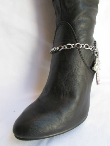 Women Silver Boot Anklet Chain 1 Strap Big Rhinestone Cross Western Shoe Charm#3