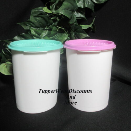Tupperware NEW 40 oz White Servalier Canisters Lilac /& Light Green Seal Set of 2