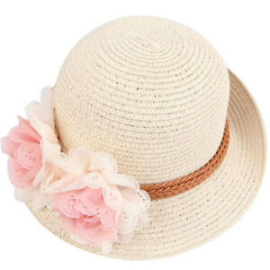 Floppy Summer Straw Baby Girls Kids Cap Beach Wide Brim Hat Sunhat ... aa69f91aadc