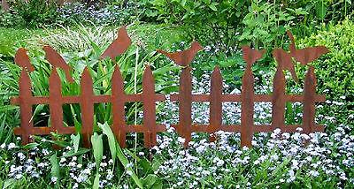 Beeteinfassung Zaun mit 3 od. 4 Vögeln -  Dekoelement Edelrost Gartendekoration