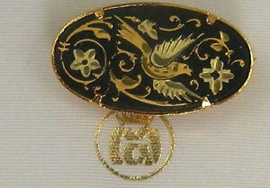 Damascene-Gold-Dove-of-Peace-Design-Oval-Brooch-by-Midas-of-Toledo-Spain