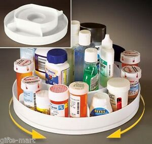 rotating 2 tier lazy Susan medicine Pill cabinet Organizer makeup ...