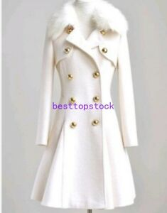 Womens-Wool-Blend-Double-Breasted-Jacket-White-Mid-Long-Winter-Coat-Fur-Collar