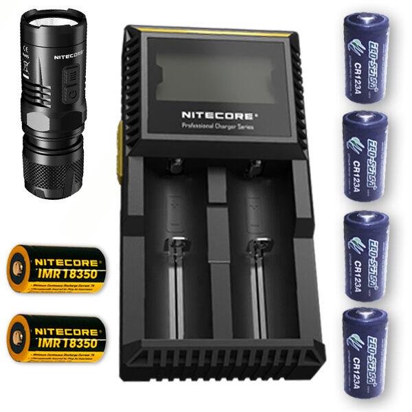 Nitecore EC11 LED Taschenlampe w D2 Ladegerät, 2x IMR 18350 4x FREIE CR123 Batterien