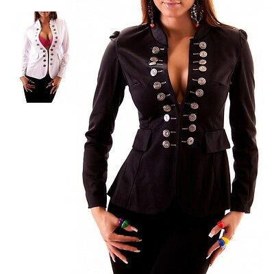Womens Top Shirt Military Cardigan Bolero Jacket with button Blazer