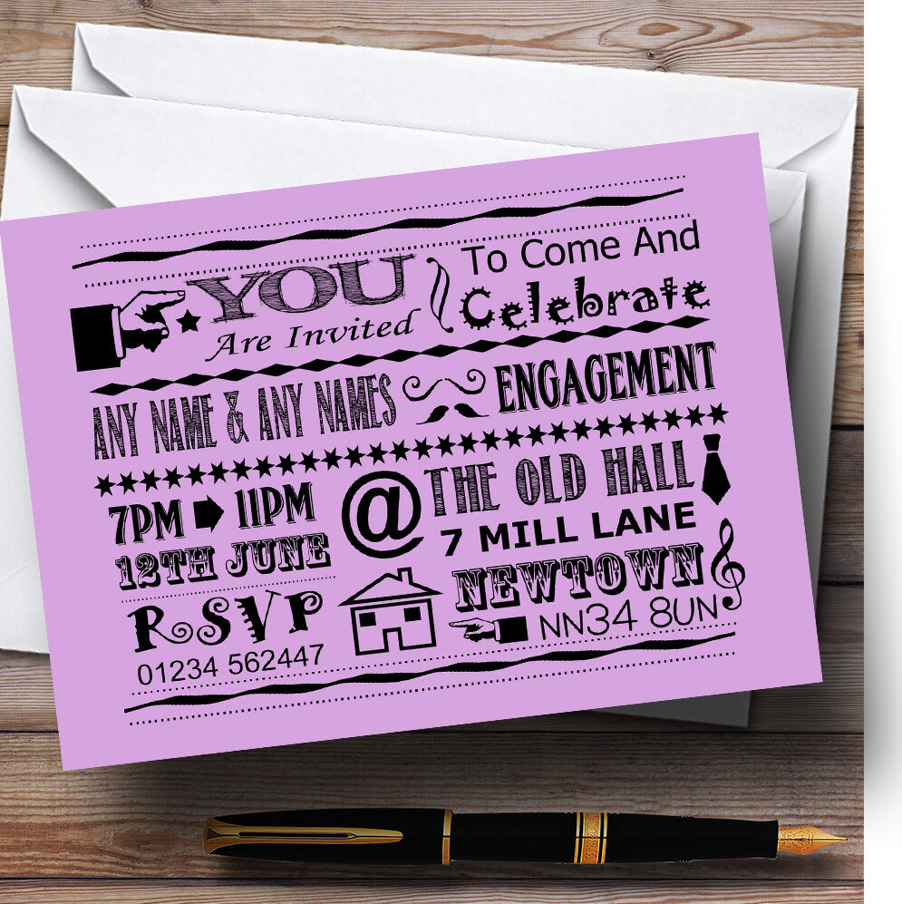 Cool Fun Chalk Typography Lilac Personalised Engagement Party Invitations