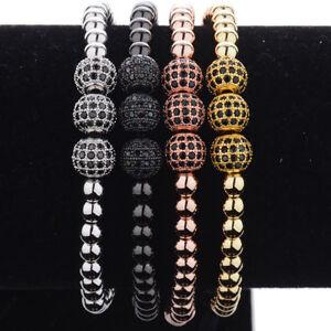 Luxury-Men-24K-Gold-Plated-Beads-amp-Micro-Pave-3-Ball-Black-CZ-Ball-Bead-Bracelet