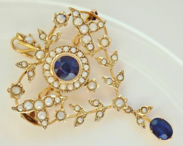 Antique Edwardian 9ct Gold Sapphire & Seed Pearl set Pendant Brooch c1905