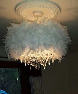 Image Is Loading Large White Feather Glam Diva Droplet Ceiling Pendant