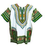 Men's Dashiki Shirt African Caftan Kaftan Ethic Large Size White And Green