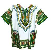 Men's Dashiki Shirt African Caftan Kaftan Ethic Large Size White And Green
