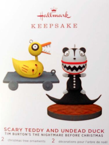 EDITION ORNAMENTS~SCARY TEDDY AND UNDEAD DUCK Set OF TWO 2019 HALLMARK LTD.