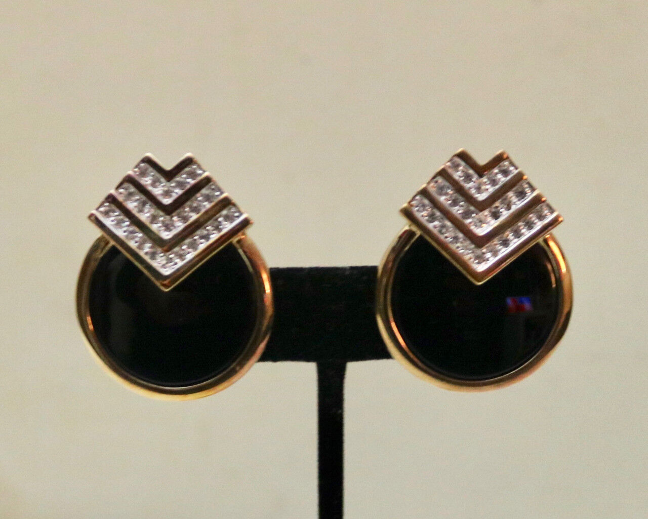 Panetta vintage rhinestone deco clip on earrings