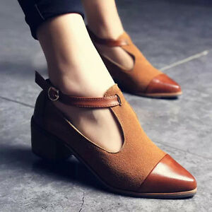 Vintage Women Pointed Toe Cut Heel Patchwork Buckle High Heels Wedge Shoes