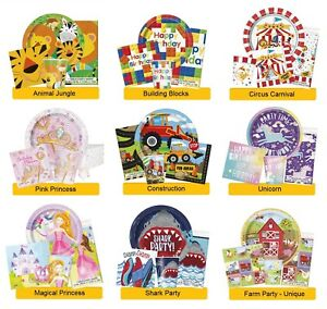 Children-039-s-BIRTHDAY-PARTY-RANGES-Kid-Tableware-Balloons-Banners-amp-Decorations
