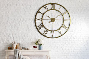 Gold-Metal-Large-Iron-Clock-76cm-Oversize-Art-Home-Decoration-Decal-Living-Room