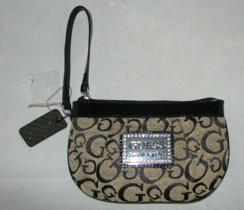 NEW GUESS MARCIANO BLACK AND BEIGE TALUCA CANVAS WRISTLET,CLUTCH,WALLET BAG