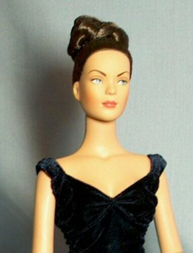 Midnight Blue Velvet Gown made for FM Diana fits 16in fashion dolls formal dress