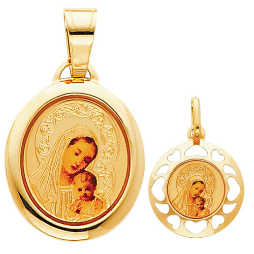 14K Yellow Gold Blessed Virgin and Baby Jesus Enamel Picture Religious Pendant
