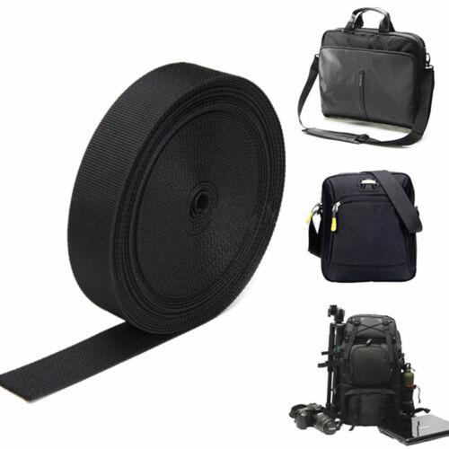 Black Nylon Heavy Webbing Bag Strap Thick Knapsack Tool Belt 10 Meters 25MM