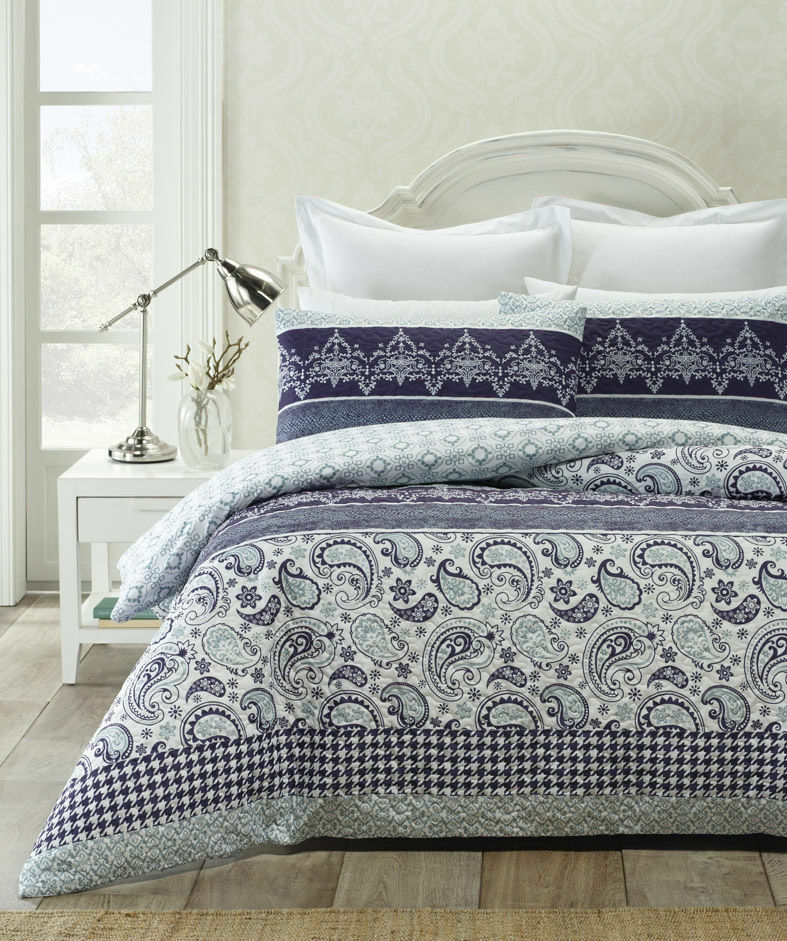 Piccadilly bluee Heat Pressed Quilted Quilt Doona Cover Set - DOUBLE QUEEN KING