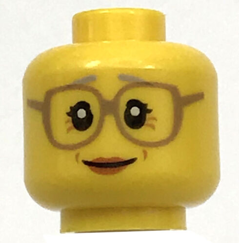 LEGO NEW YELLOW MINIFIGURE HEAD WITH GLASSES WRINKLES SMILE GRANDMOTHER PIECE