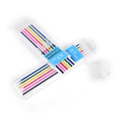 12pc//Box 0.7mm Colored Mechanical Pencil Refill Lead Erasable Student Stationary