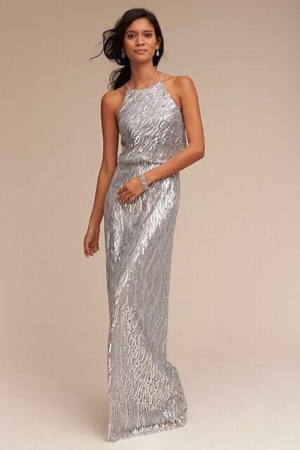 fa0ee5b3 BHLDN Donna Morgan Sz 4 Alana Sequin Gown Silver NWOT | eBay