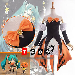 image is loading vocaloid hatsune miku cosplay costume halloween orange black