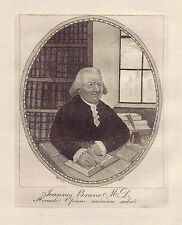 JOHN KAY Original Antique Etching. Dr. John Brown in his Study, 1791