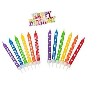 Happy Birthday Geburtstagskerzen Deko Set Rainbow 13 teilig Kerzen Geburtstag