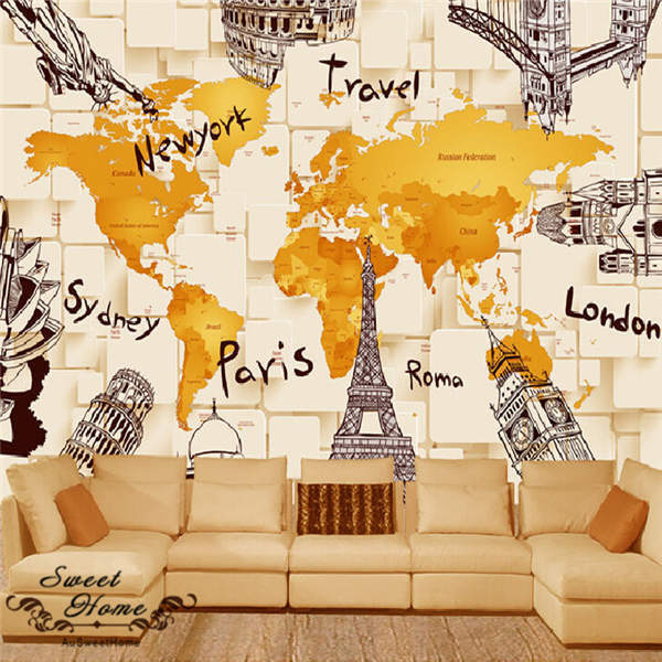 3D Creative Map Travel Scenery Wallpaper Full Wall Mural Photo Printed Home Deco