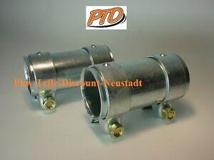 Auspuff-2-x-Rohrverbinder-Doppelschelle-50-mm-Laenge-125-mm