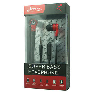 New Red eVogue Super Bass Stereo Earbuds Headset with Mic, Tangle Free Flat