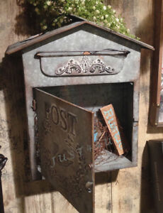 Vintage-Chic-Shabby-Cottage-Metal-Bird-House-Mailbox-French-Letter-Wall-Postbox
