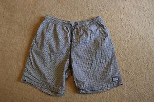 Details about Quicksilver Men's Black & White Summer Beach Shorts Elastic  Waist Size S