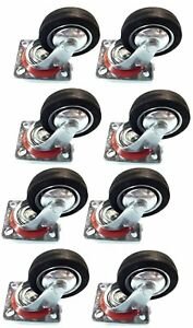 """8 pack 3/"""" Swivel Caster Wheels Rubber Base with Top Plate /& Bearing Heavy Duty"""
