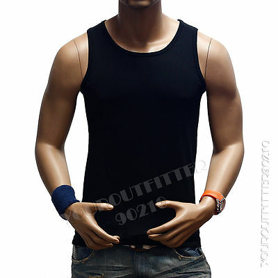 Men's Plain T-Shirts Tank Top Muscle Camo Sleeveless Tee S~3XL A-Shirt Cotton T