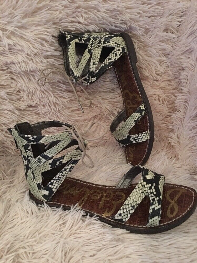 Sam Edelman Gwenna Leather Zip Gladiator Sandals Python Print SZ 8 NEW  130