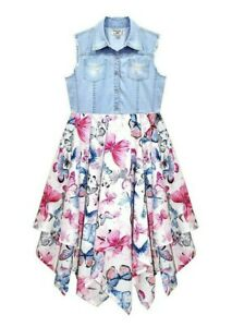 Domino Girl/'s 100/% cotton Butterfly Patchwork Print Hanky Party Dress 3 to 11 yr