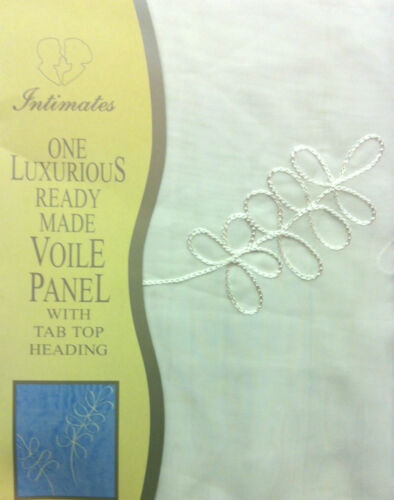 """59/"""" x 72/"""" TAB TOP VOILE PANEL TESSA CREAM NATURAL SHEER PLAIN EMBROIDERED LUXURY"""